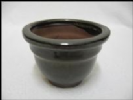 Bonsai Pot, Round, 9cm, Green, Glazed